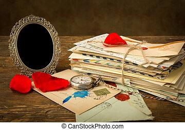 antieke , roos, brieven, kroonbladen