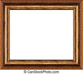 antieke , rustiek, donker, gouden, fotolijst, vrijstaand