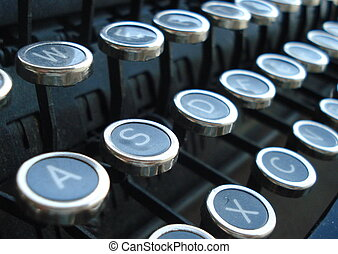 antieke schrijfmachine, sleutels