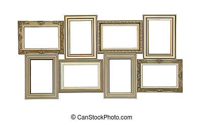 antieke , set, vensters, foto, weinig, leeg, lijstjes