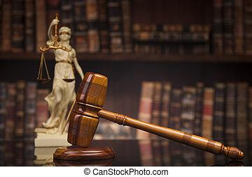 antieke , standbeeld, van, justitie, wet, boekjes ,...