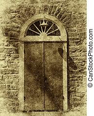 antieke , stijl, foto, van, gewelfd, deur
