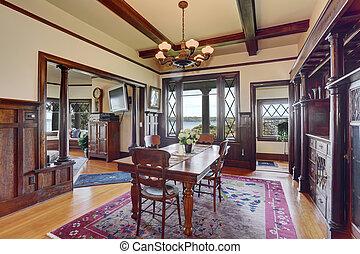 antieke , stijl, kamer, het dineren, interieur, verse bloemen, tafel.
