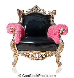 antieke , stoel, vrijstaand, op wit