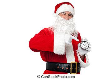 antieke , stuk, kerstman, wijzende, tijd