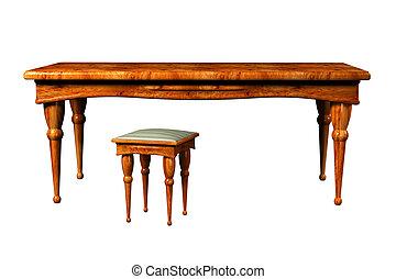 antieke , tafel, krukje, 3d