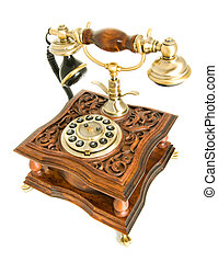 antieke telefoon, vrijstaand, op, witte