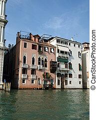 antieke , vaart, venetie, -, gebouwen, grande, langs,...