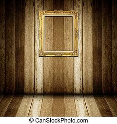 antieke , van hout vensterraam, kamer, goud