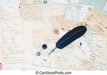 antieke , veer, brieven, pen