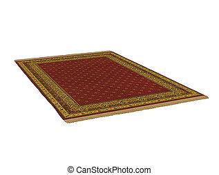 antieke , vertolking, tapijt, oosters, 3d