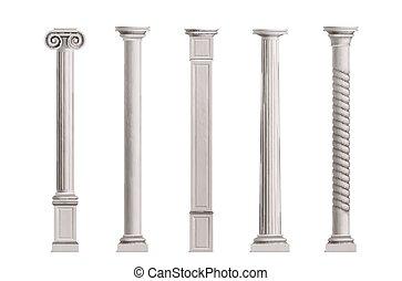 antieke , verzameling, realistisch, vector, kolommen, 3d