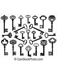 antieke , verzameling, sleutels