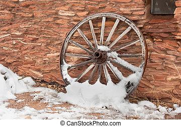 antieke , wagon wiel