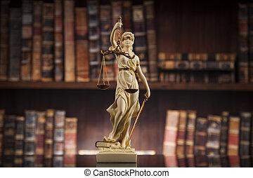 antieke , wet, achtergrond, justitie, boekjes , standbeeld