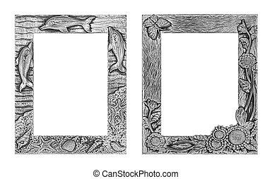 antieke , zilver, frame, vrijstaand, op wit, achtergrond, knippend pad