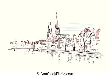 antient, città, schizzo, tedesco, illustrazione, vettore, vista