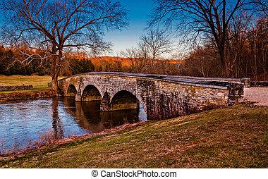 antietam, nacional, Maryland, Puente, burnside, campo de...