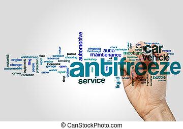Antifreeze word cloud concept on grey background