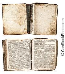 antigüedad, 1861, libro, grungy, abierto, páginas