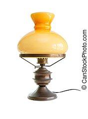 antigüedad, aceite, aislado, estilizado, lámpara, tabla