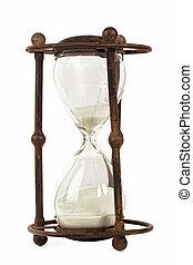 antigüedad, aislado, reloj de arena