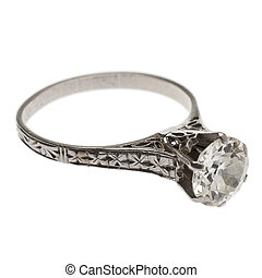 antigüedad, anillo, diamante, 1920's