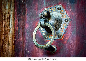 antigüedad, anillo, puerta
