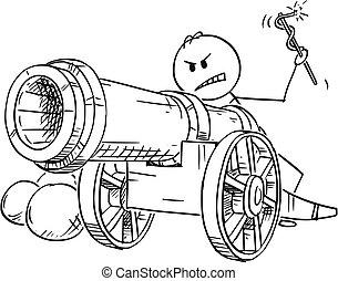 antigüedad, apuntar, fuego, cañón, listo, caricatura, hombre
