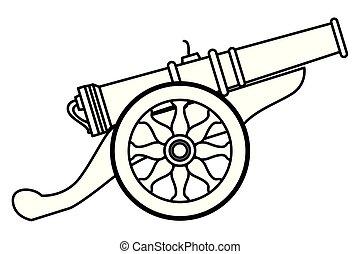 antigüedad, arma, canon, caricatura, negro, blanco, ruedas