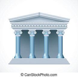 antigüedad, azul, griego, frente, vector, temple., vista