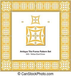 antigüedad, azulejo, marco, patrón, conjunto, amarillo, oval, cruz