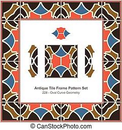 antigüedad, azulejo, marco, patrón, conjunto, oval, curva, geometría
