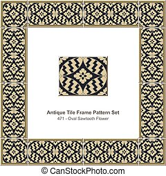 antigüedad, azulejo, marco, patrón, conjunto, oval, sawtooth, flor
