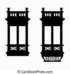 antigüedad, balcón, cubierto