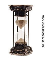 antigüedad, blanco, aislado, reloj de arena