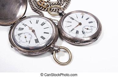antigüedad, bolsillo, blanco, relojes, Plano de fondo