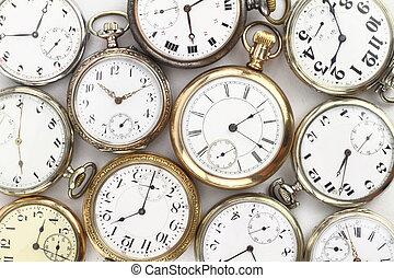antigüedad, bolsillo, blanco, vario, relojes