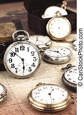 antigüedad, bolsillo, clocks, retro, plata