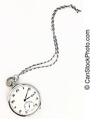 antigüedad, bolsillo, reloj, con, cadena