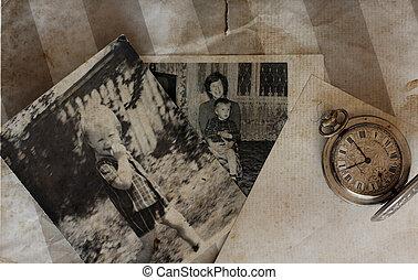 antigüedad, bolsillo, viejo, relojes, cartas