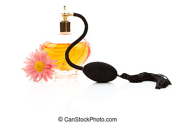 antigüedad, botella del perfume, con, flor, isolated.