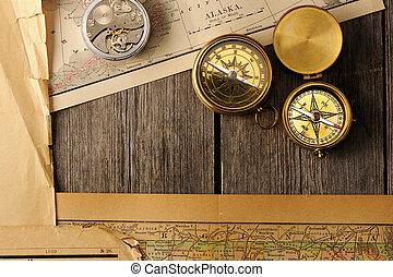 antigüedad, brújulas, encima, viejo, mapa