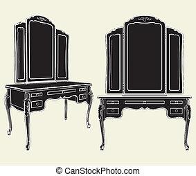 antigüedad, cómoda, espejo