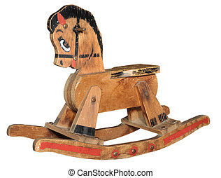 antigüedad, caballito mecedor madera