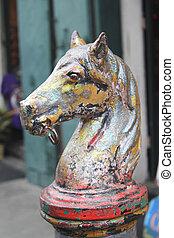 antigüedad, caballo, cabeza, atar, post., hierro