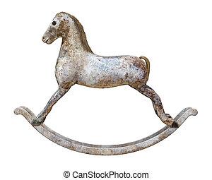 antigüedad, caballo de balancín, aislado