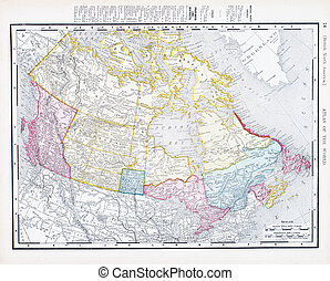 antigüedad, canadá, vendimia, mapa de color