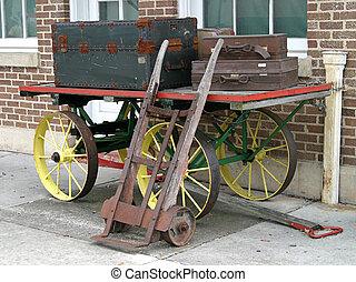 antigüedad, carrillopara llevar equipaje