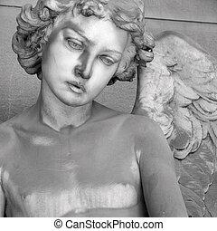 antigüedad, cementerio, ángel, figura